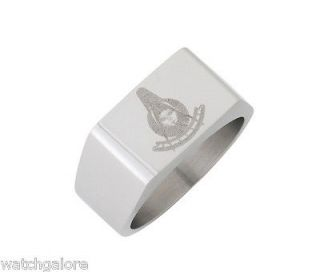New Mens Stainless Steel Masonic Freemason Mason Past Master Ring
