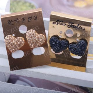 Korean style Black gold crystal pave love heart earrings stud