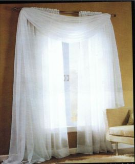 Elegant Sheer Voile Extra Long Panel Pair Set With Scarf  108 or 120