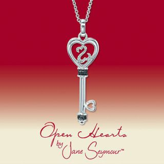 Jane Seymour Open Hearts Sterling Silver Diamond Key Necklace Pendant