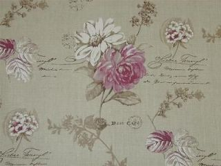Curtain Fabric Floral Script Linen Pink White French by the metre