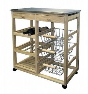 Ore International H 43 Wood Kitchen Cart