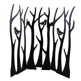 Foldable Metal Bird Tree Jewelry Stand Display Black Screen Tabletop