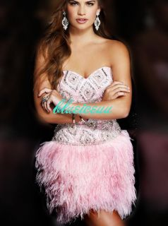 New short Beadwork Feather Dress Cocktail Dress Prom Party Gown/pink