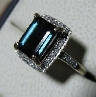 CAPTIVATING 14K YGOLD INDICOLITE TOURMALINE & DIAMOND RING 2.5+ CTS