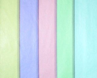 50 Sheets of PASTEL Tissue Paper 5 COLORS Pink, Green, Blue, Yellow