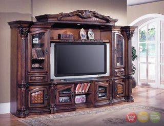 Grandview 4 Pc Traditional Wall Unit Large TV Entertainment Center GRA