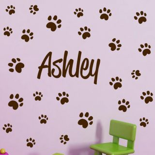 CUSTOM PERSONALIZED BOY GIRL CHILD NAME DOG PAW PRINTS Vinyl Wall