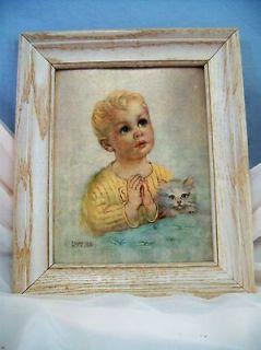 Vintage 1950s Florence Kroger Framed Print, Little Boy Praying