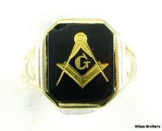 MASONIC Master Mason 10k Yellow Gold Vintage Onyx RING