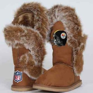 Cuce Shoes Pittsburgh Steelers Ladies Fanatic Boots   Tan