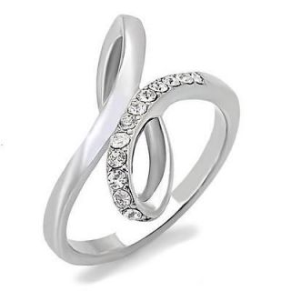 Stainless Steel Infinity Knot Cubic Zirconia CZ Ring Size 9