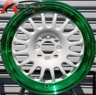 15X7 ROTA TRACK R2 4X100 +40 WHITE CANDY TONE GREEN WHEEL FITS CIVIC