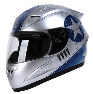 Torc T10 Prodigy Fighter Silver Street Full Face Motorcycle Helmet (XS