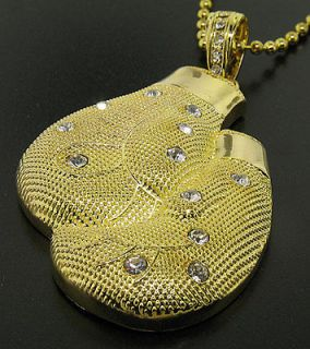 Boxing gloves gold plated hip hop bling pendant