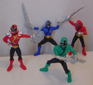 LOT OF 4 POWER RANGERS SAMURAI 4 PVC ACTION FIGURES WITH SWORDS
