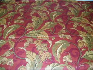 Screen Print 55 1/2 W Fabric, 1 Yd Red/Gold/Green Floral Material