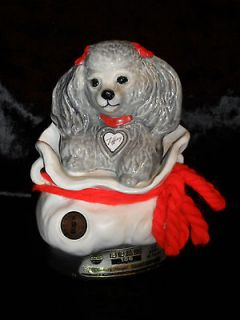 VINTAGE JIM BEAM COLLECTABLE LIQUOR BOTTLE TIFFANY THE GRAY POODLE IN