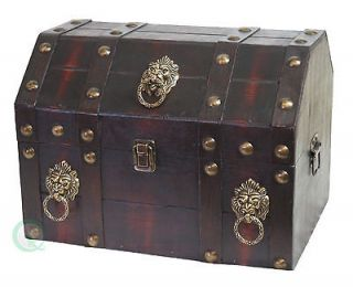 New 3 Decorated Small Antique Design Wooden Jewelry Treasure Chest Box
