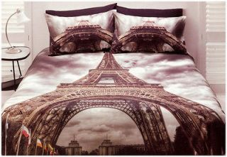 Paris Quilt Doona Cover Set Single Size Bedding Eiffel Tower Travel