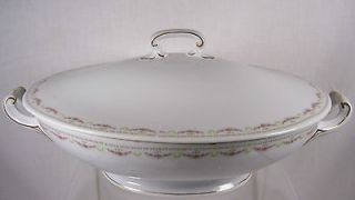 Antique WEIMAR Pink Roses OVAL COVERED VEGETABLE BOWL Porcelain Likely