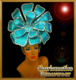 CHARISMATICO BLUE Drag Queen Tranvestite DIVA CABARET FLOWER HEADDRESS