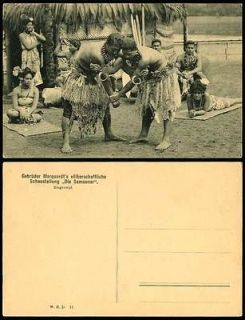 SAMOA Old Postcard Native Women Men Wrestlers Wrestling