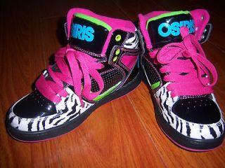 Osiris Girls Pink Black Zebra Print High Top Skater Shoes Size 12/ 13