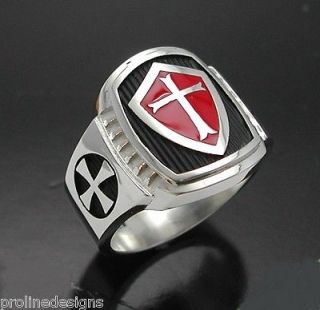 Knights Templar Cross Ring #014 Sterling Silver with red enamel