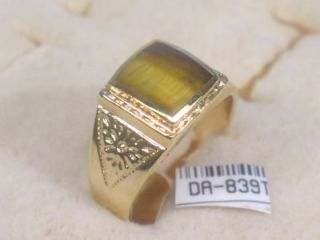 10 SMALLER GEMSTONE 18KT GOLD GP TIGERS EYE MENS RING DA839TE