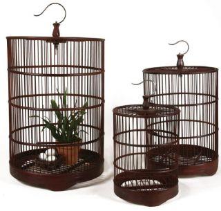 Set 3 Brown Metal Hanging Bird Cages Birdcages Nesting