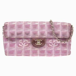 Auhenic CHANEL New ravel Line CC Logos Chain Shoulder Bag Pink