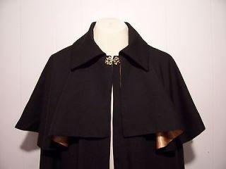 Gentlemens Opera Cloak Capelet LINING Black Red Gold Wine S t XL