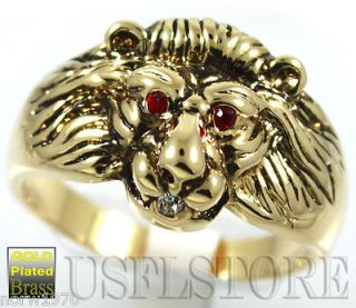 Mens Lion Head Red Eye 18kt Gold Plated Ring Size 13