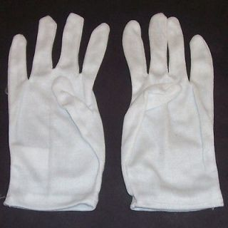 2pr White Cotton Gloves Small Clown Magician Marching Band Child
