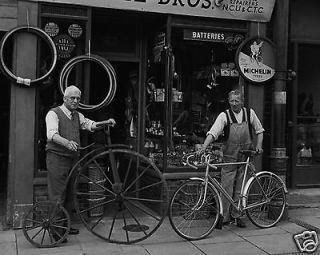 : Bicycle Repair Shop in Cambridge England Penny Farthing Big Wheel