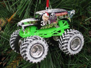 Hot Wheels Custom Monster Jam Grave Digger Christmas Ornaments Mult