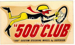 VINTAGE SUPERIOR 500 STEERING WHEEL WATER DECAL RAT HOT ROD METALFLAKE