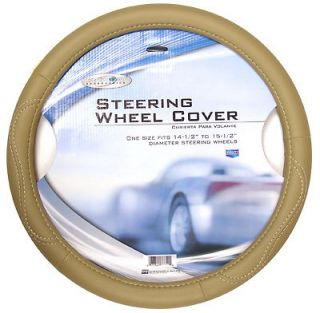 Custom Accessories 38855 Tan Leatherette Steering Wheel Cover NEW