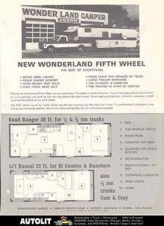 1968 ? Wonderland Fifth Wheel Travel Trailer Brochure r2259 8IH4RB