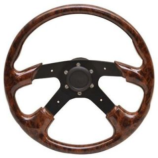 14 INCH FAUX CHERRY WOODGRAIN / BLACK ALUMINUM BOAT STEERING WHEEL
