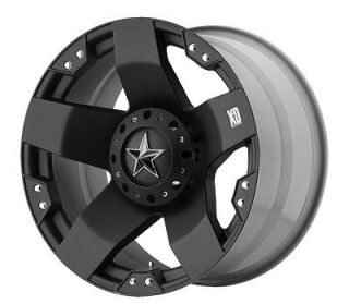 BLACK KMC ROCKSTAR 20 X 8.5 FORD CHEVY DODGE WHEELS
