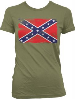 Faded Distressed Confederate Flag Old South Southern Pide Girls Junior