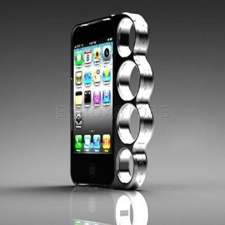 Rings brass knuckles hard bumper side rim cover case for iPhone 4 4s