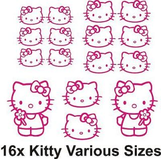 Hello Kitty 16x Individual Stickers Bedroom Wall or Door / Glass / Car