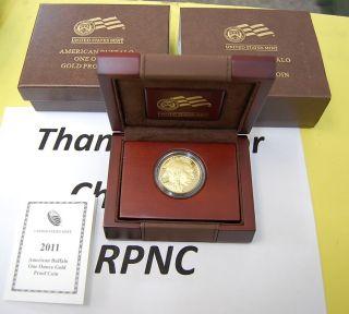 2011 American Buffalo $50 Gold Proof Coin   1oz Coin w/Box & COA @ No