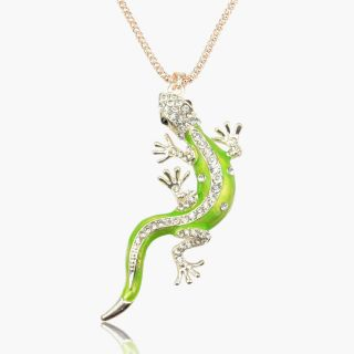 14k Gold Plated GP Enamel 3D Lizard Crystal Necklace Pendant B2011K