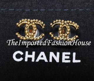 Chanel Classic Medium CC Logo Gold Stud Post Earrings 2011 New