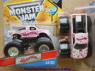 2011 Hot Wheels Monster Jam 48 Madusa Pink Cancer Awareness Ribbon New