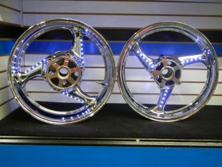 Hayabusa 2008 2012 Factory Chrome Plated Wheels with L E D Lights